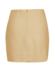 Plain Tie-Front Pencil Mini Skirt