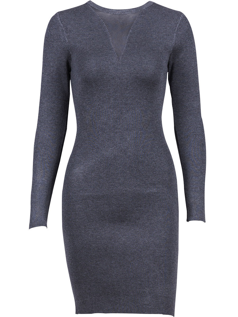 Round Neck Hollow Out Plain Knitted Bodycon Dress