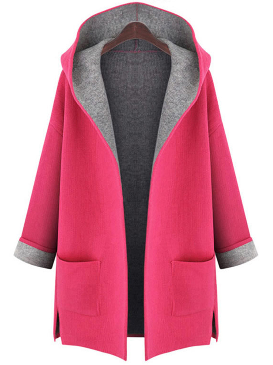 Manteau De Laine Patch Pocket Color Block
