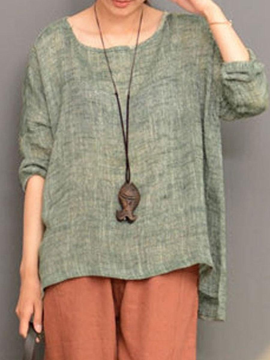 Autumn Spring  Blend  Women  Round Neck  Asymmetric Hem  Plain Long Sleeve T-Shirts