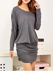 Sexy Solid Hollow Out Batwing Bodycon Dress
