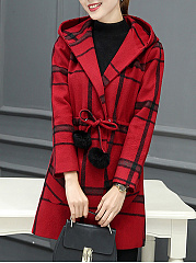 Hooded Drawstring Patch Pocket Plaid Woolen Coat