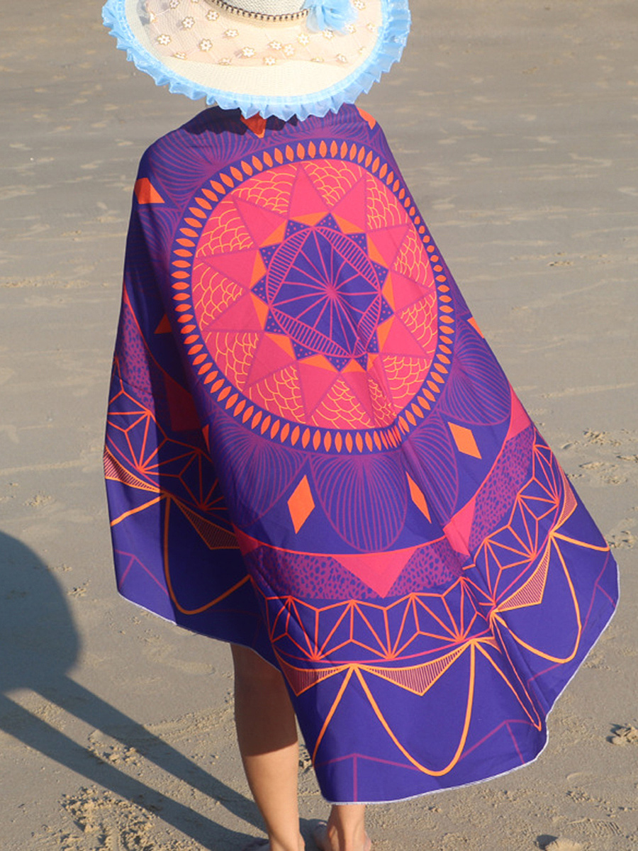 Color Block Printed Round Beach Shawl