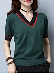 Spring Summer  Cotton  Women  V-Neck  Contrast Stitching  Plain Short Sleeve T-Shirts