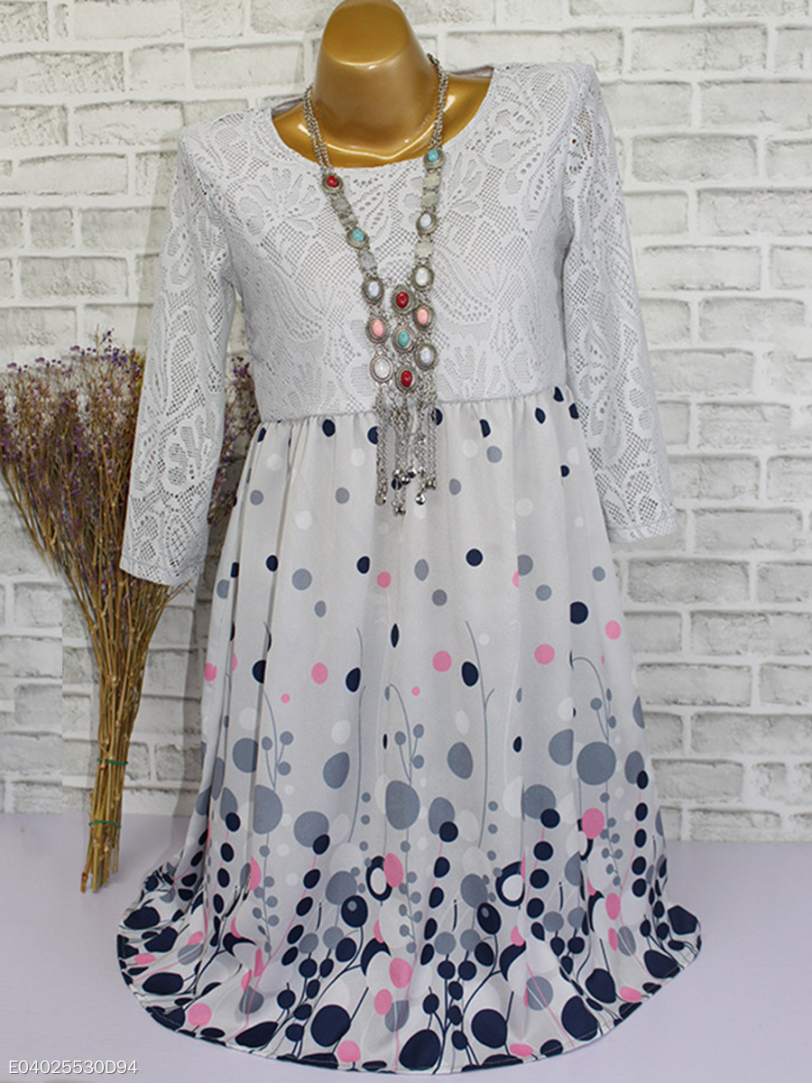Round Neck  Decorative Lace  Printed Shift Dress