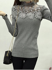 High Neck  See-Through  Plain  Long Sleeve Sweaters Pullover