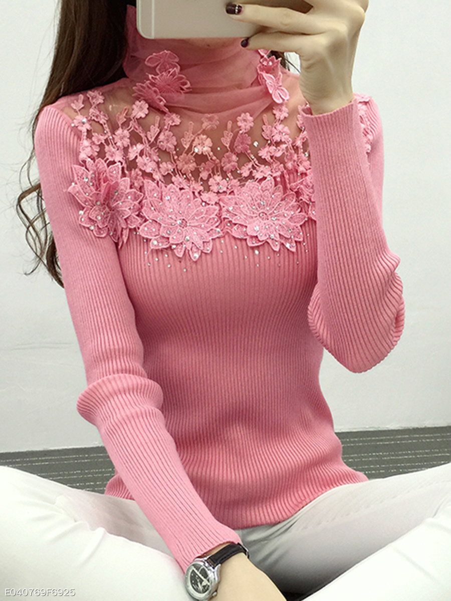 High Neck  Decorative Lace See-Through  Plain  Long Sleeve Sweaters Pullover