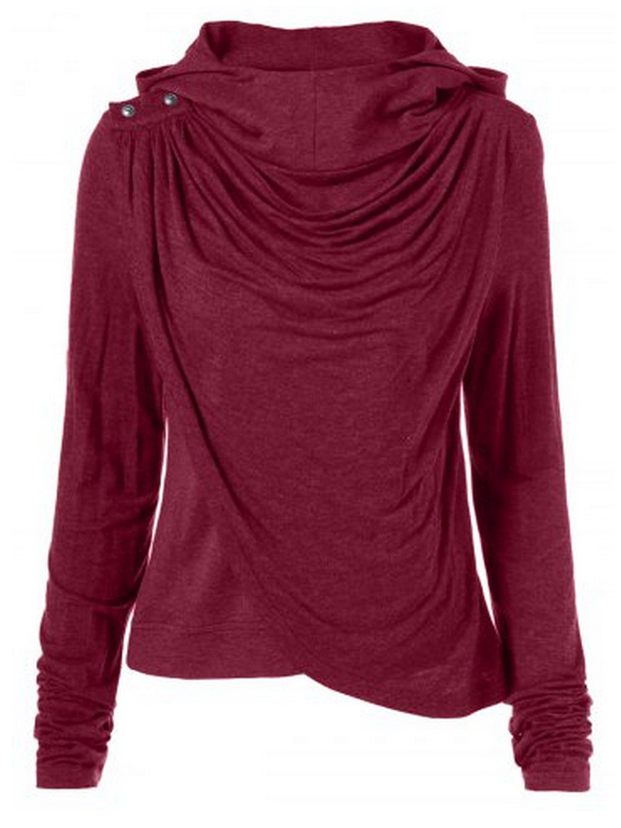Cowl Neck  Asymmetric Hem  Decorative Button  Plain Long Sleeve T-Shirt