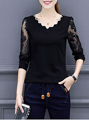 Scallop V-Neck Patchwork See-Through Long Sleeve T-Shirt