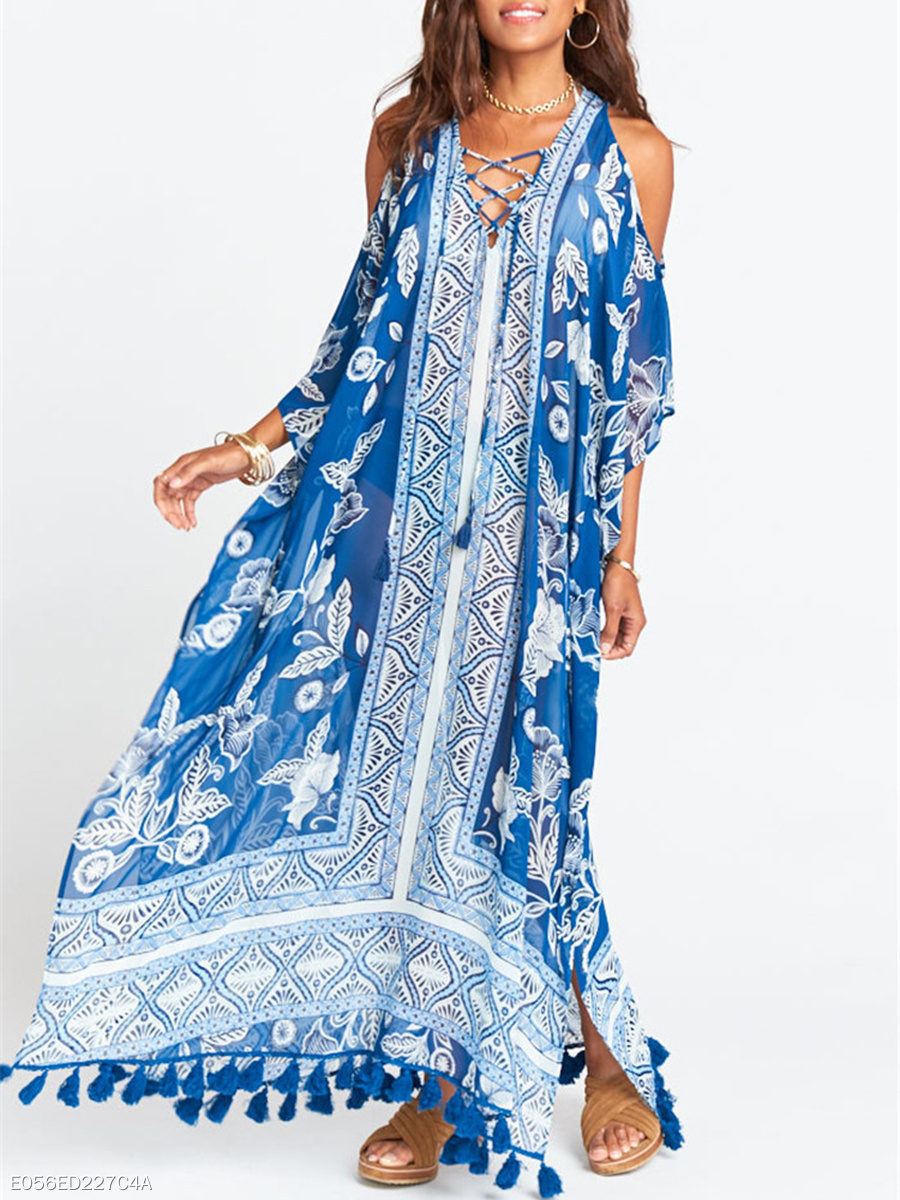 Open Shoulder  Lace-Up Tassel  Printed Maxi Dress