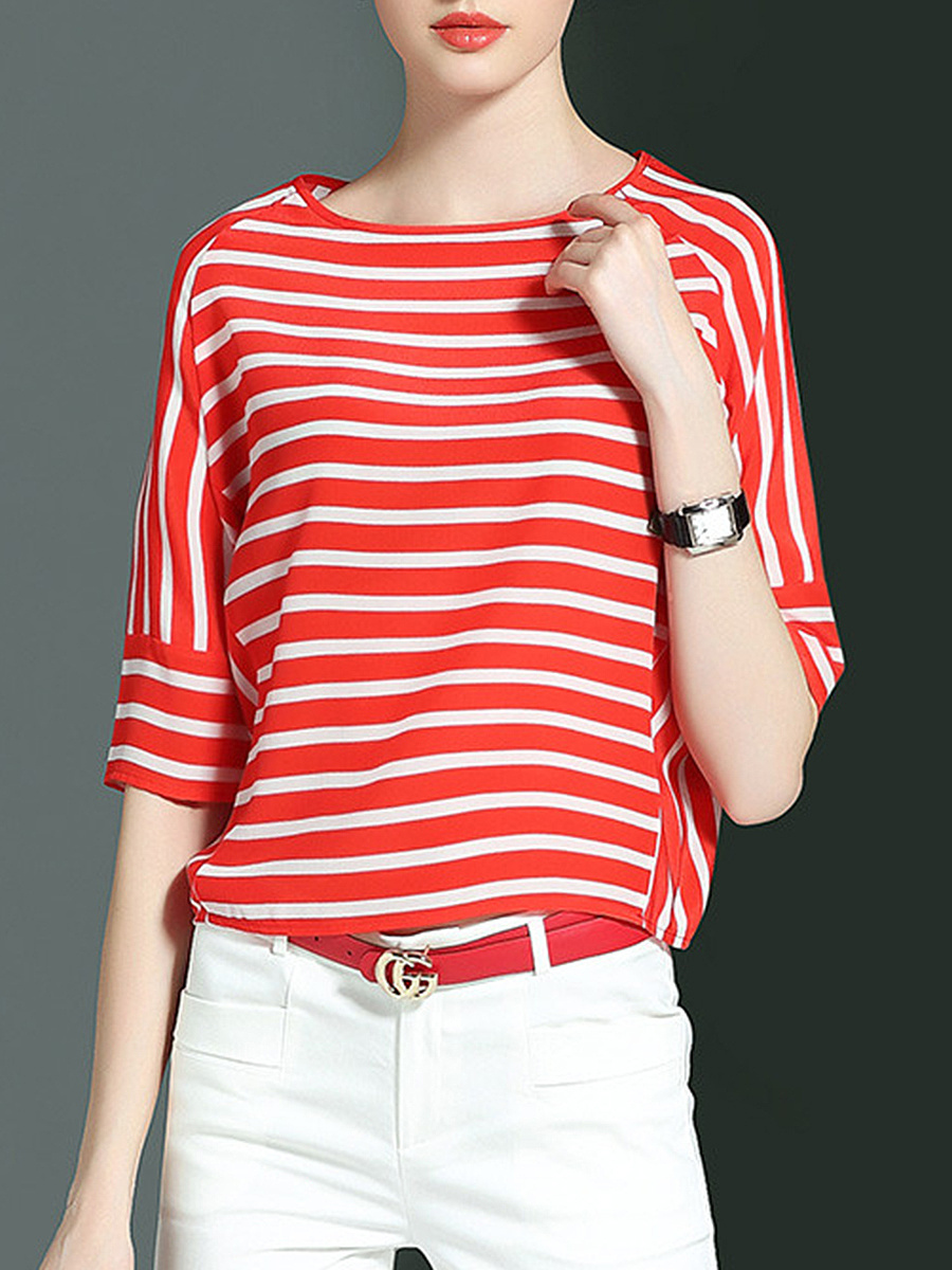 Round Neck Striped Batwing Sleeve Blouse