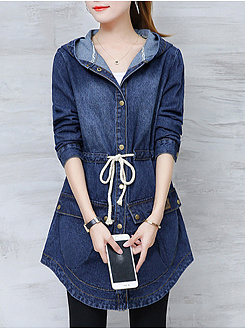 Hooded  Drawstring Flap Pocket Denim Coat