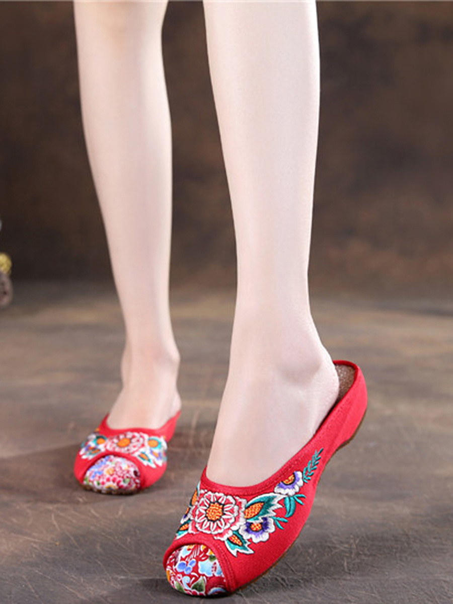 Colorful Embroidery Slip-Ons