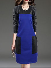 Round Neck  Patchwork Slit Pocket  Color Block Shift Dress
