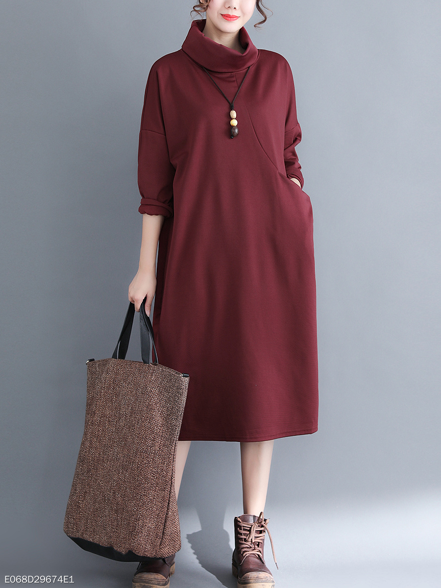 Cowl Neck  Plain Maxi Dress