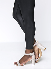 Solid Fleece Lined Faux Leather Plus Size Legging In Black