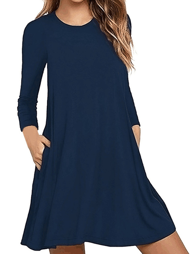 Image of Fashionmia Basic Round Neck Patch Pocket Plain Shift Dress