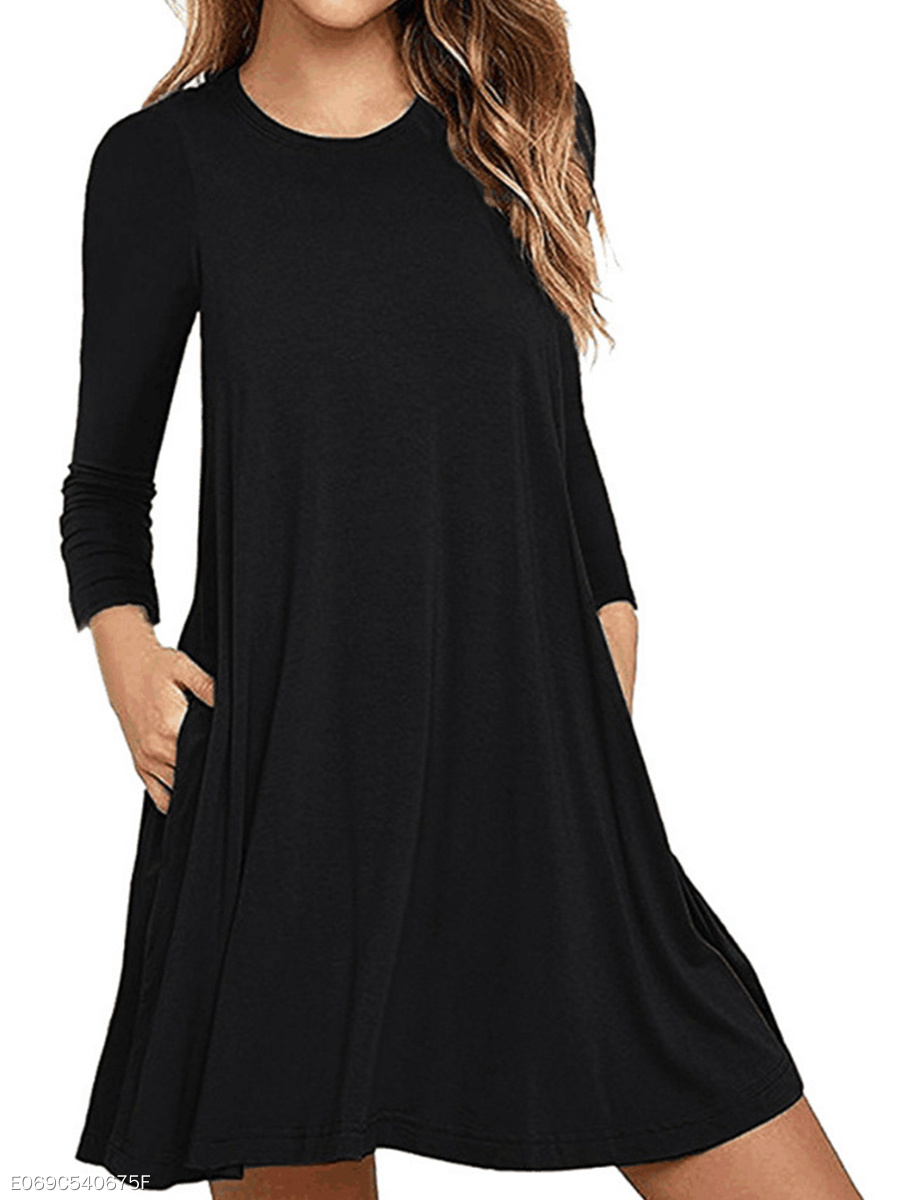 Basic Round Neck  Patch Pocket  Plain Shift Dress