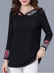 Round Neck  Decorative Buttons Patchwork  Bohemian Long Sleeve T-Shirts