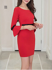 Round Neck Bowknot Bell Sleeve Bodycon Dress
