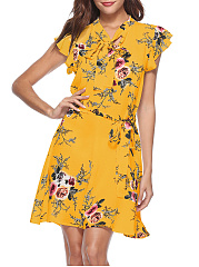 Tie Collar  Bowknot  Floral Printed Skater Dress