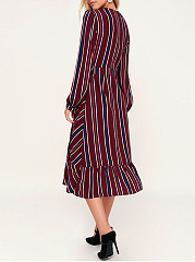 Surplice  Ruffled Hem  Striped Maxi Dress