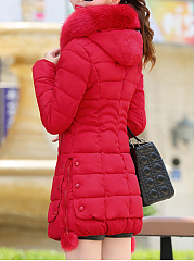 Hooded Zips Pocket Quilted Plain Padded Coat
