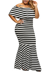 Off Shoulder Striped Plus Size Mermaid Maxi Dress