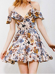 Halter  Cutout Flounce Ruffled Hem  Floral Printed Mini Skater Dress