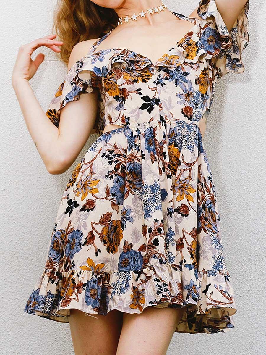 Halter  Cutout Flounce Ruffled Hem  Floral Printed Mini Skater Dress