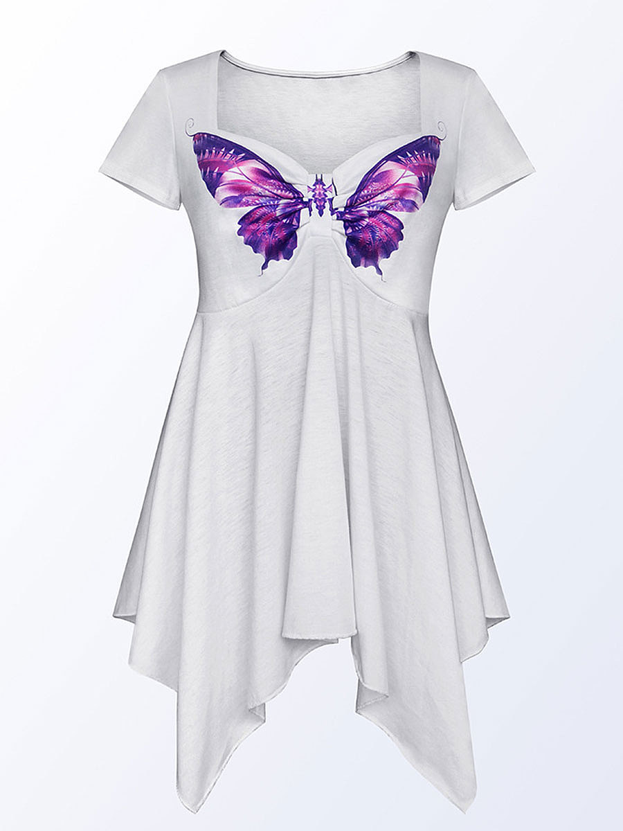 Summer  Cotton  Women  Round Neck  Asymmetric Hem  Butterfly Animal Printed Short Sleeve T-Shirts