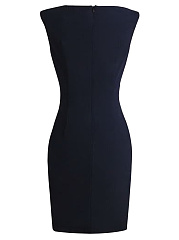 Contrast Decorative Button Round Neck Bodycon Dress