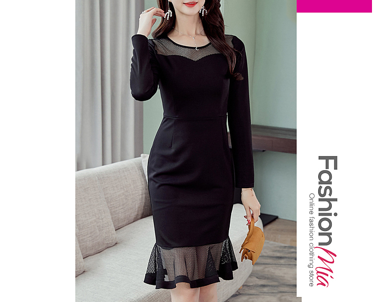 thickness:regular, brand_name:fashionmia, style:western, material:blend, collar&neckline:round neck, sleeve:long sleeve, pattern_type:plain, length:knee-length, how_to_wash:cold  hand wash, supplementary_matters:all dimensions are measured manually with a deviation of 2 to 4cm.,the fabric is slightly elastic., occasion:daily*date, season:autumn*winter, dress_silhouette:sheath, package_included:dress*1, length:95,shoulder:36,bust:84,waist:68,hip:84,