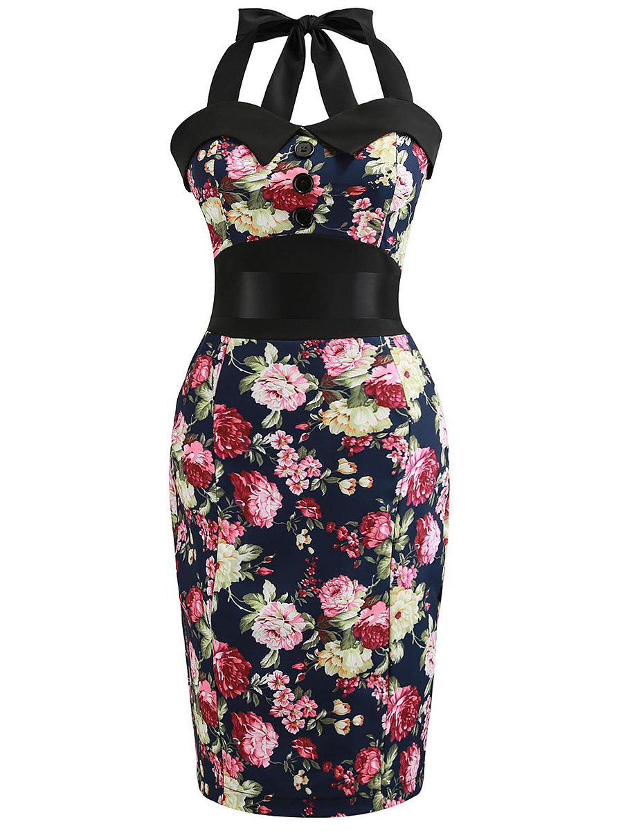 Retro Floral Printed Halter Bowknot Bodycon Dress