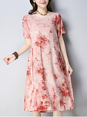 Round Neck  TieDye Shift Dress