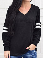 Autumn Spring  Polyester  Women  V-Neck  Contrast Piping  Plain Long Sleeve Loose T-Shirts