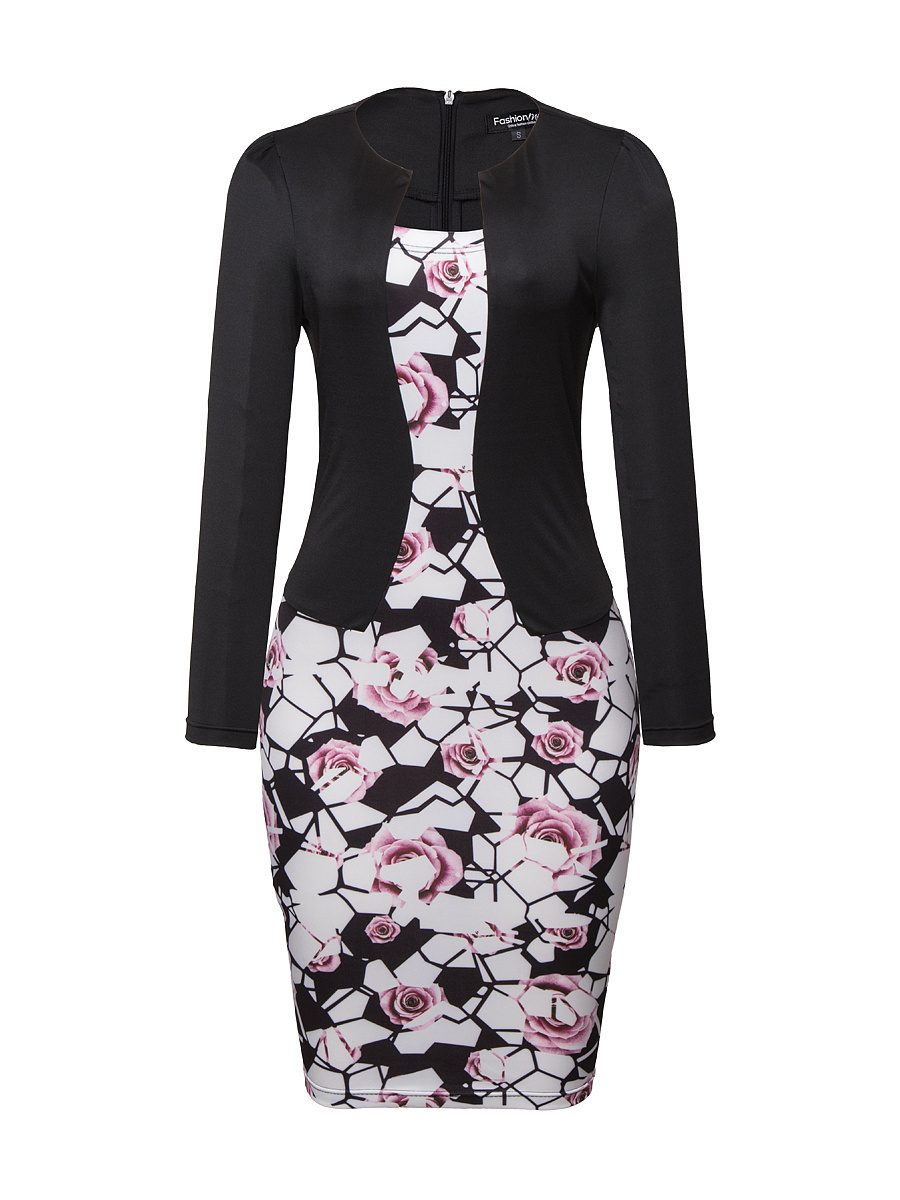 Fake Two-Piece Floral Printed Bodycon Dress