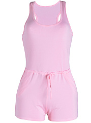 Basic-Drawstring-Pocket-Plain-Round-Neck-Romper