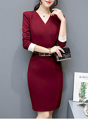 V-Neck Contrast Cuff Belt Slit Bodycon Dress