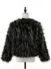 Collarless Shaggy Faux Fur Coat