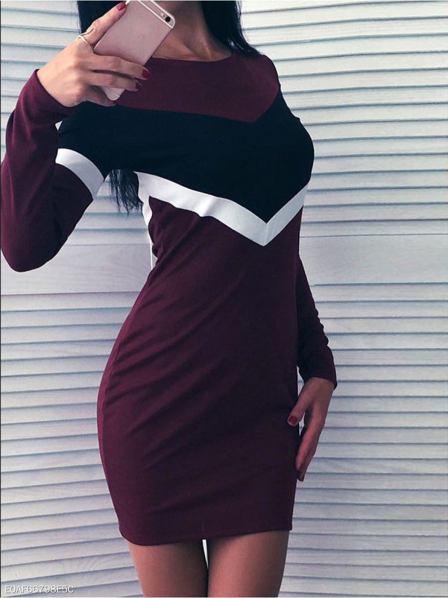 Round Neck  Lightweight  High Stretch  Colouring Bodycon Dress