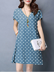 V-Neck  Polka Dot Shift Dress