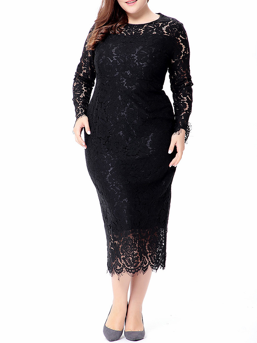 Graceful Crew Neck Hollow Out Plain Lace Plus Size Bodycon Dress ...
