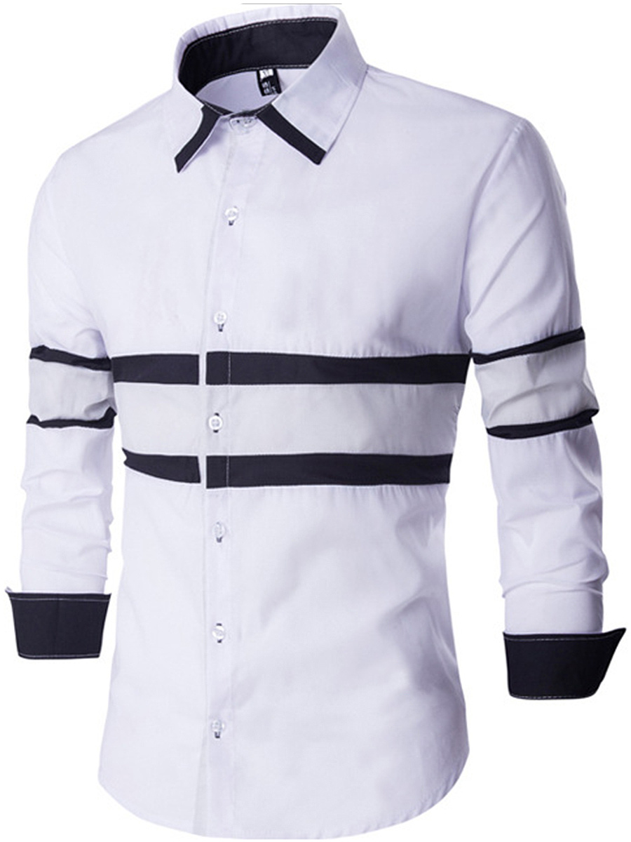 Color Block Striped Patchwork  Men Shirts