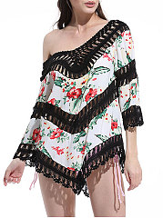 Rib Knit Cuffs  Printed  Three-Quarter Sleeve Tunic
