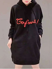 Hooded  Drawstring Slit Pocket  Cartoon Letters  Raglan Sleeve Hoodies
