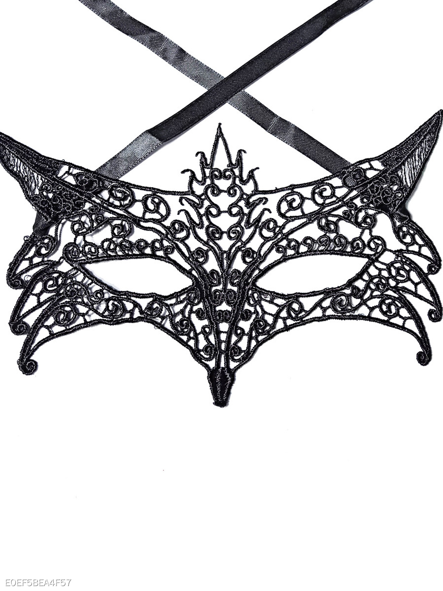 Fox Shape Black Lace Mask