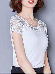 Spring Summer  Polyester  Women  Round Neck  Decorative Lace  Plain Short Sleeve T-Shirts