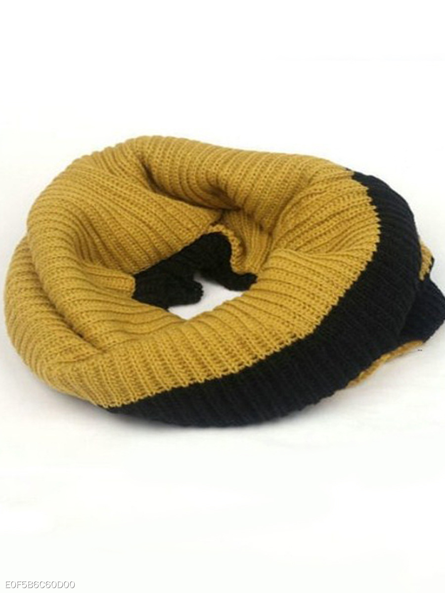 Winter Warm Soft Color Block Knitted Wrap Scarf