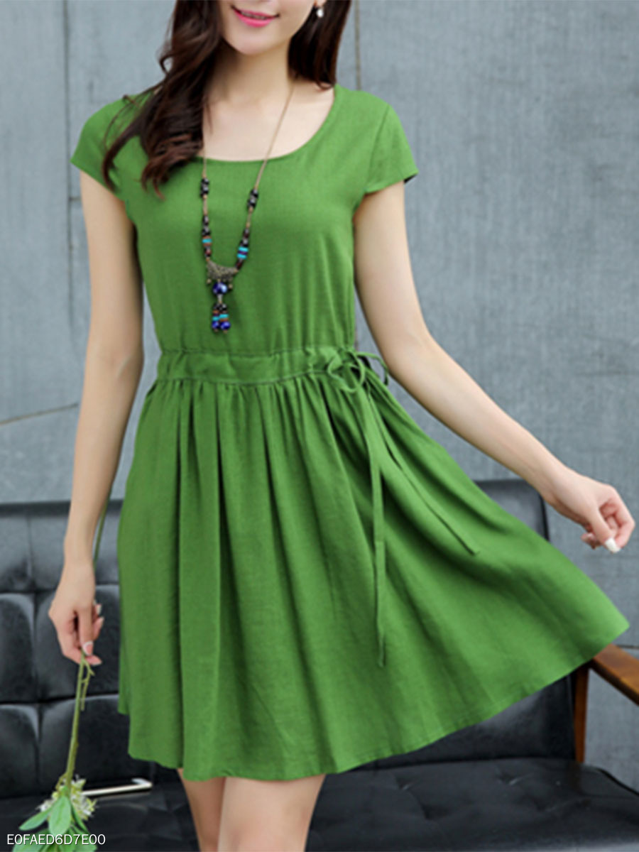 96777a47d422 Round Neck Drawstring Plain Skater Dress - fashionMia.com